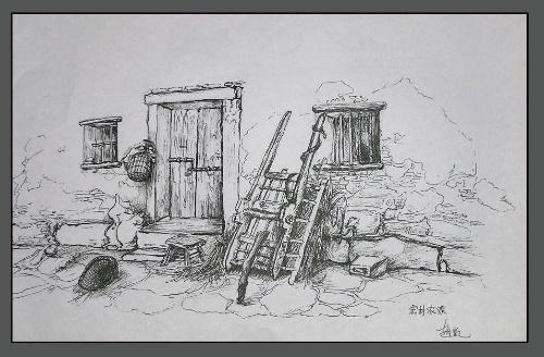 宏村写生速写临摹 宏村钢笔速写 宏村风景钢笔速写图片