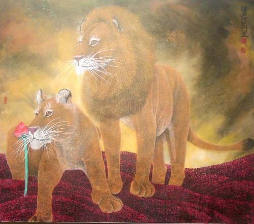 豹--谢天鸿现代新彩墨工笔动物画作品欣赏